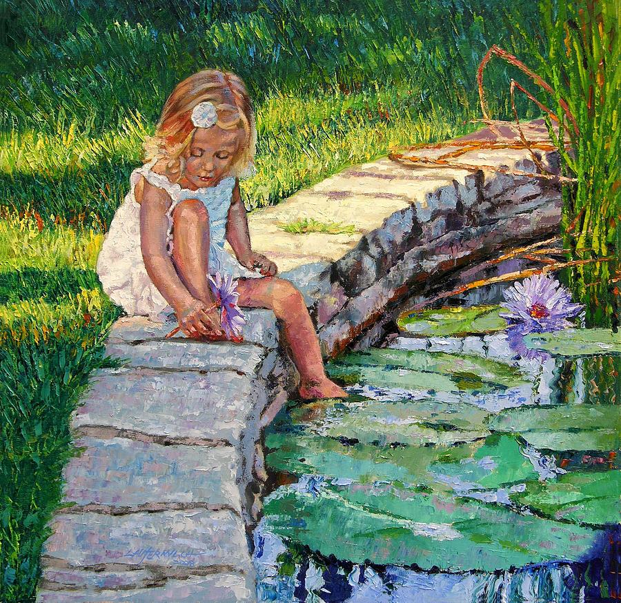 Small Girl Painting - Enjoying Yesterdays Sunlight by John Lautermilch