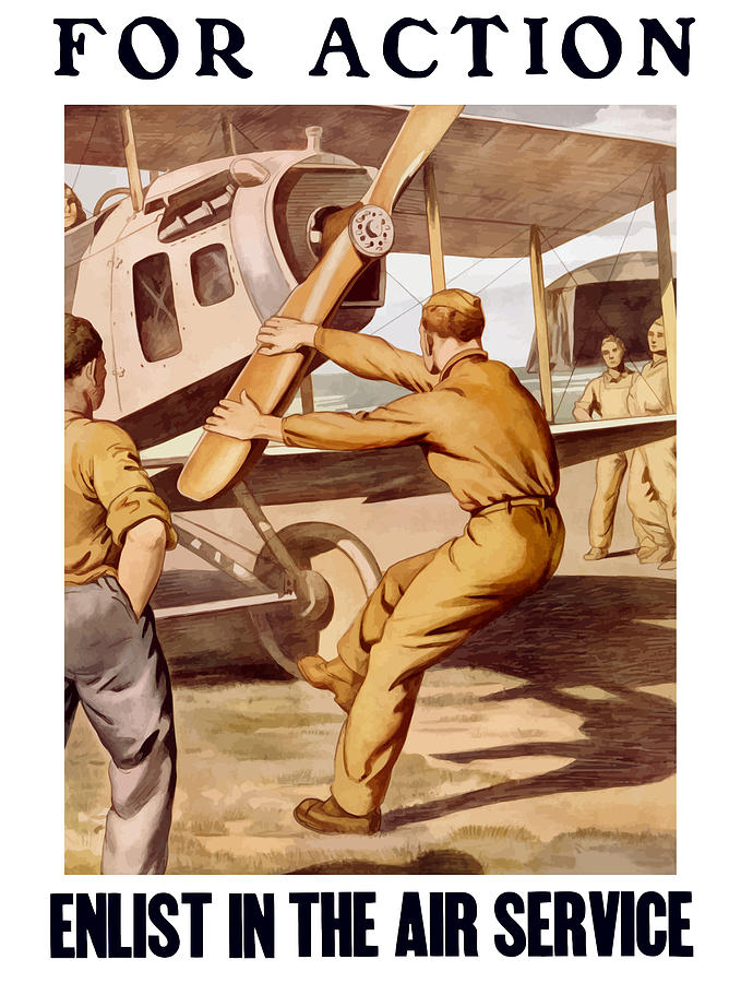 Air Force Painting - Enlist In The Air Service by War Is Hell Store