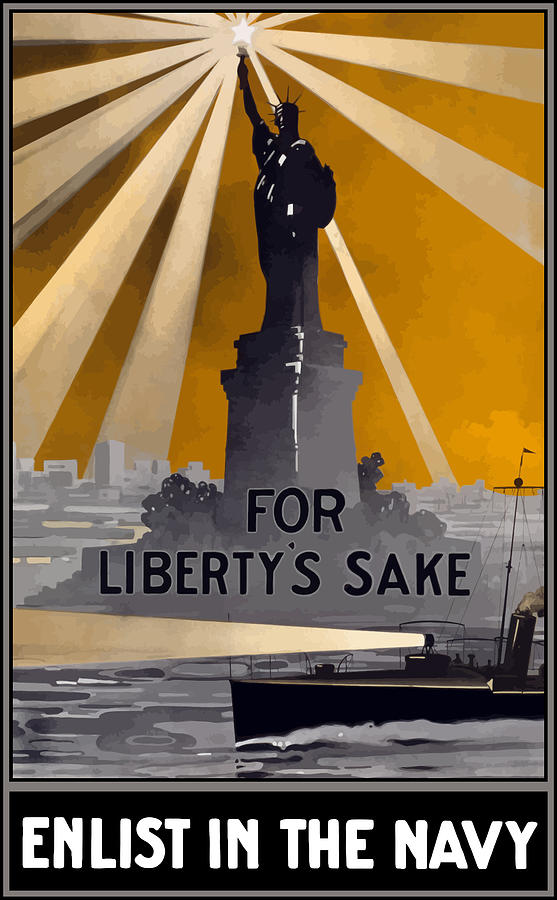 Statue Of Liberty Painting - Enlist In The Navy - For Libertys Sake by War Is Hell Store