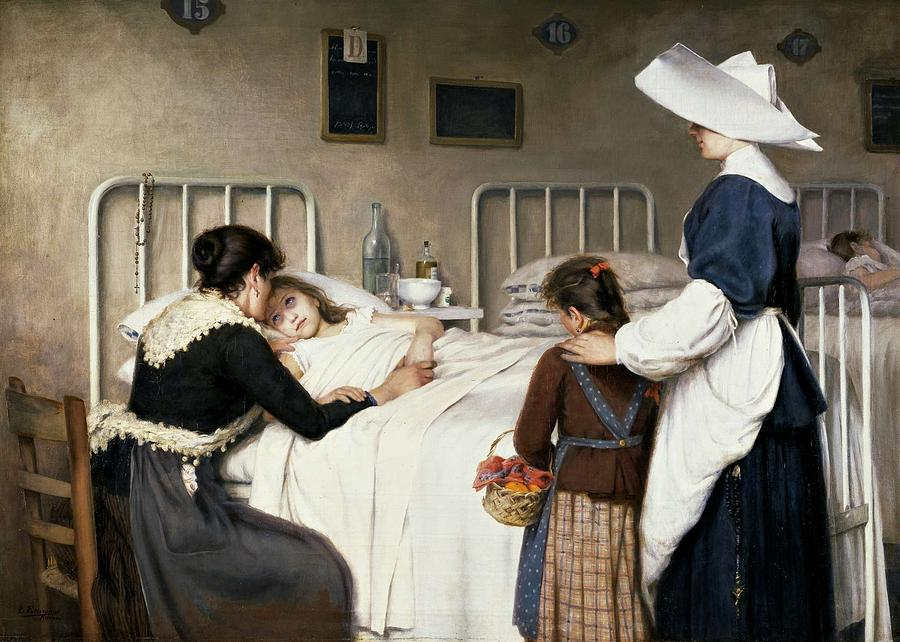 Girl Painting - Enrique Paternina Garcia Cid - Mother Visit to the Hospital 1892 by Enrique Paternina Garcia Cid
