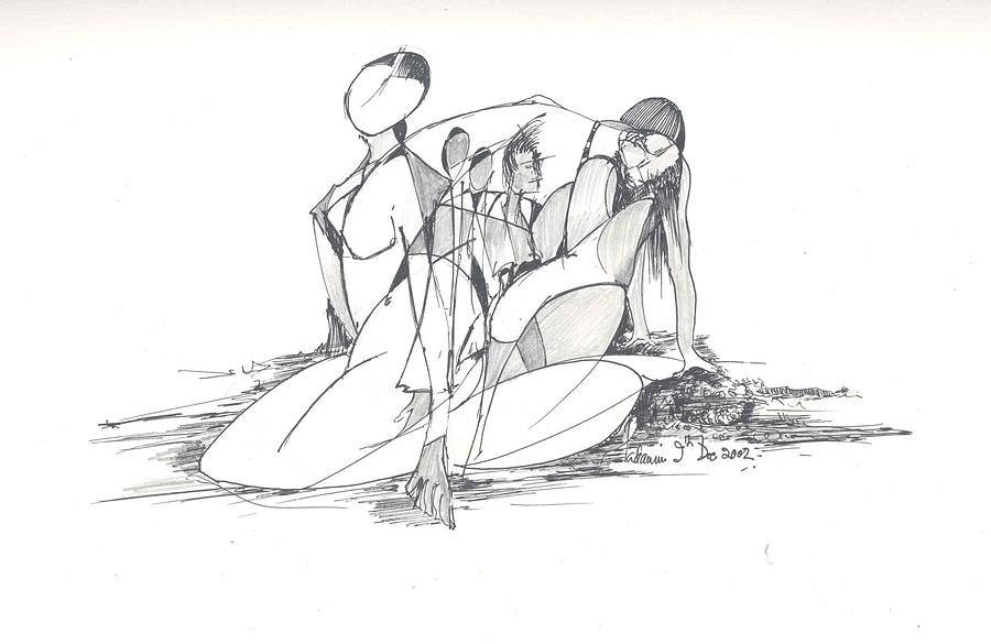Women Drawing - Entangled Women by Padamvir Singh