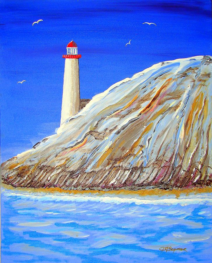 Lighthouse Painting - Entering The Harbor by J R Seymour