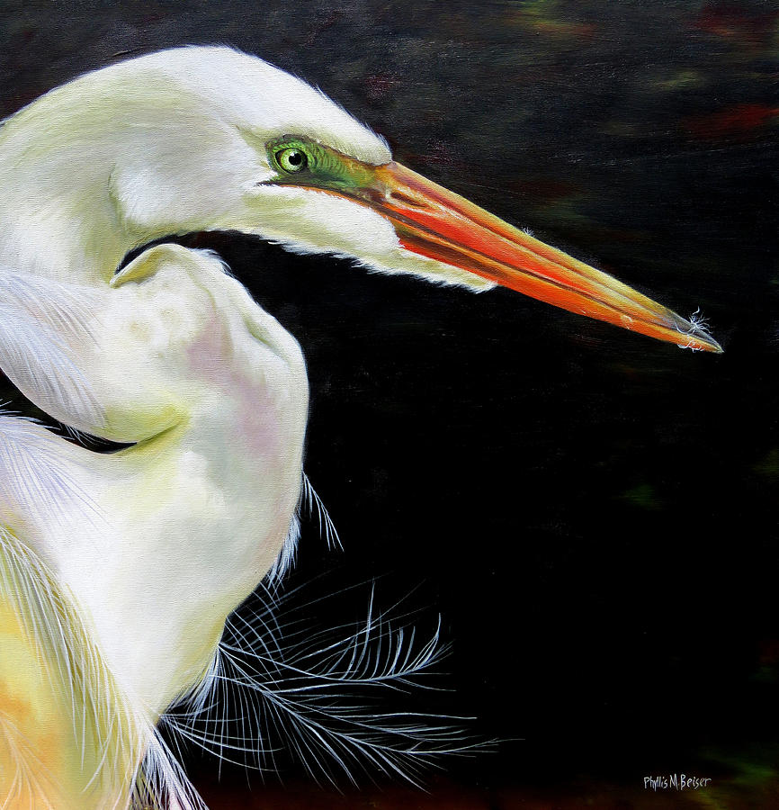 Great White Heron Painting - Enticement by Phyllis Beiser