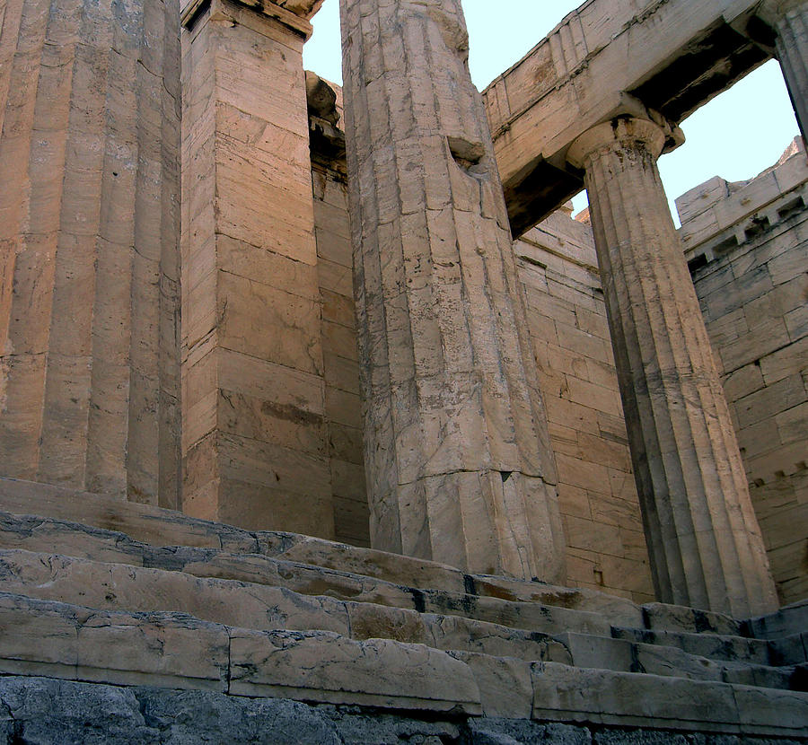 Columns Photograph - Entrance To Past Life   Acropolis by Blima Efraim