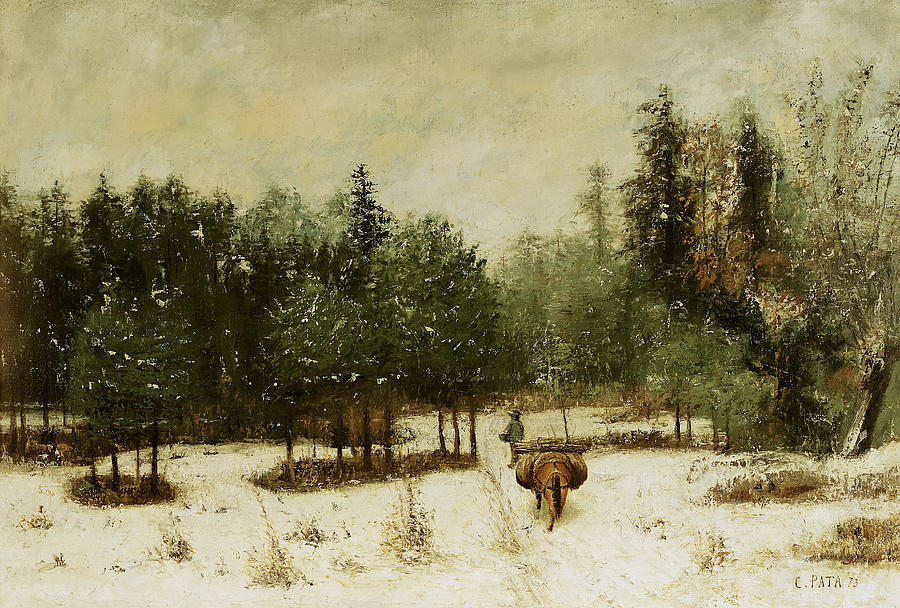 Entrance Painting - Entrance To The Forest In Winter by Cherubino Pata