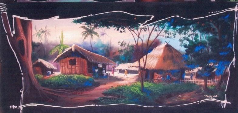 Village Scene Painting - Enu Obodo by Eziagulu Chukwunonso