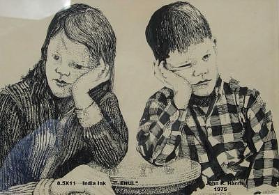 Enui Drawing by John  R Harris