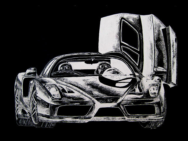 Cars Drawing - Enzo  by Brent Nunn
