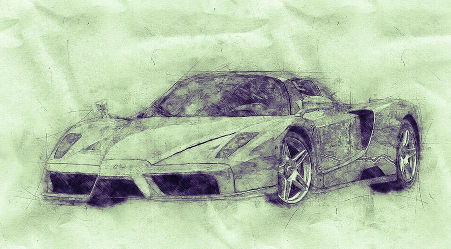 Enzo Ferrari 3 - Spors Car - 2002 - Automotive Art - Car Posters Mixed Media