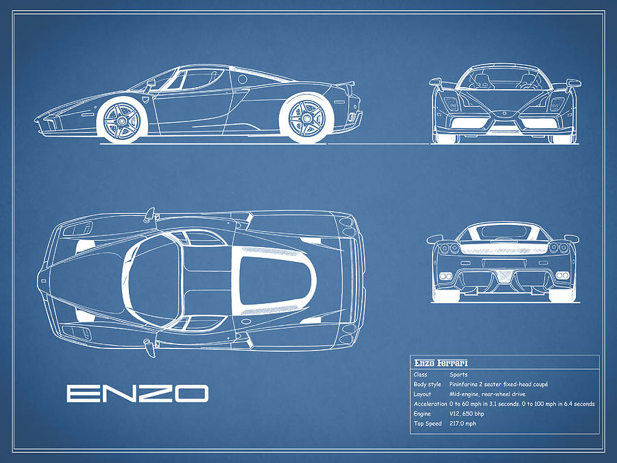 Enzo Ferrari Blueprint Photograph by Mark Rogan