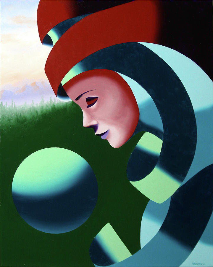 Abstract Painting - Eos - Abstract Mask Oil Painting With Sphere By Northern California Artist Mark Webster  by Mark Webster
