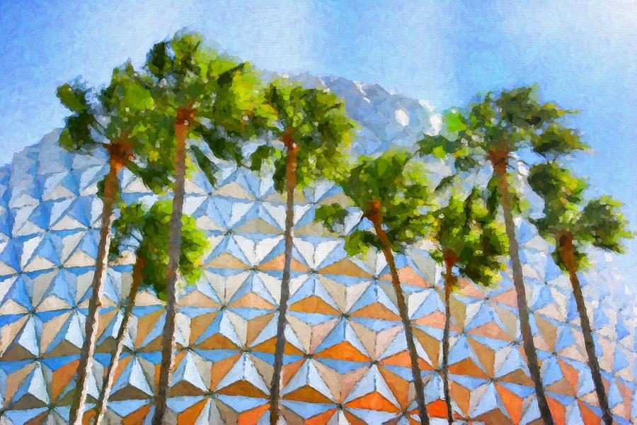 Epcot Digital Art - Epcot Palms by Paul Bartoszek