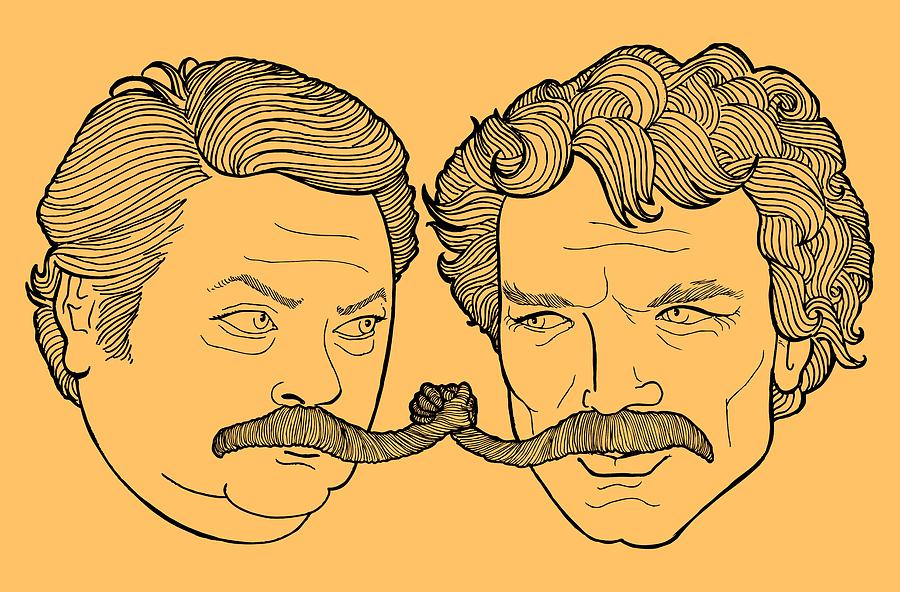 Epic Mustache Handshake Drawing by Jason Wright