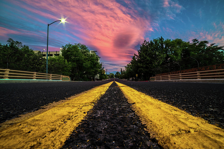 Epic Pink Summer Clouds Over Double Yellow Line On Ralston St. Bridge In Reno, Nevada Photograph