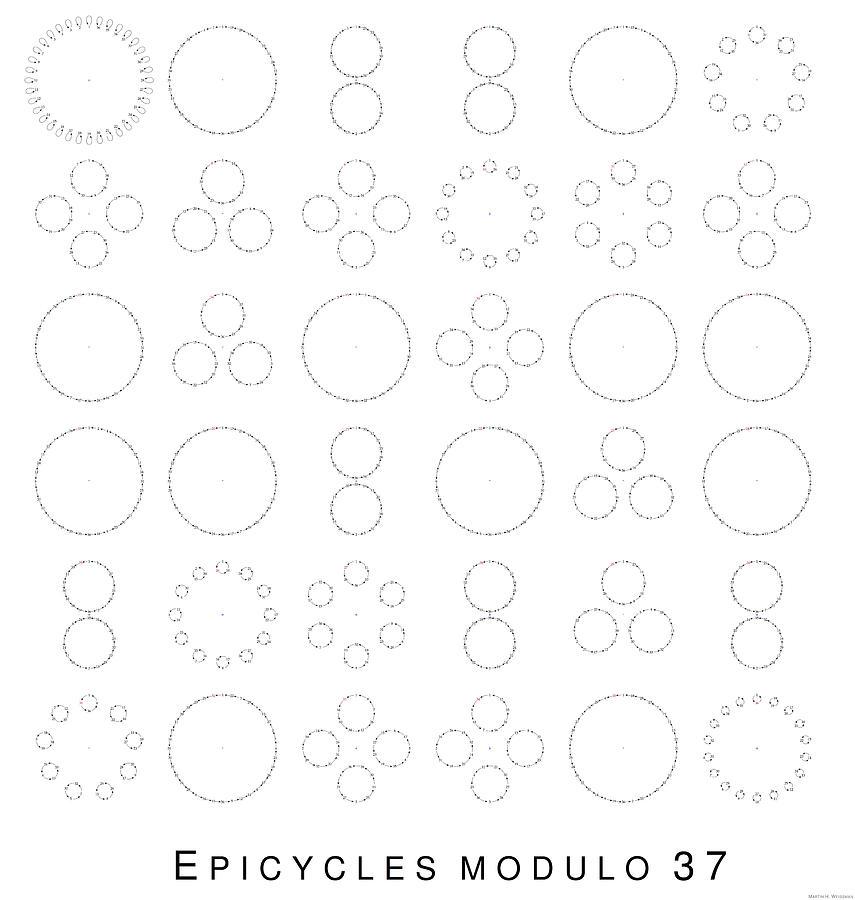 Mathematics Digital Art - Epicycles modulo 37 by Martin Weissman
