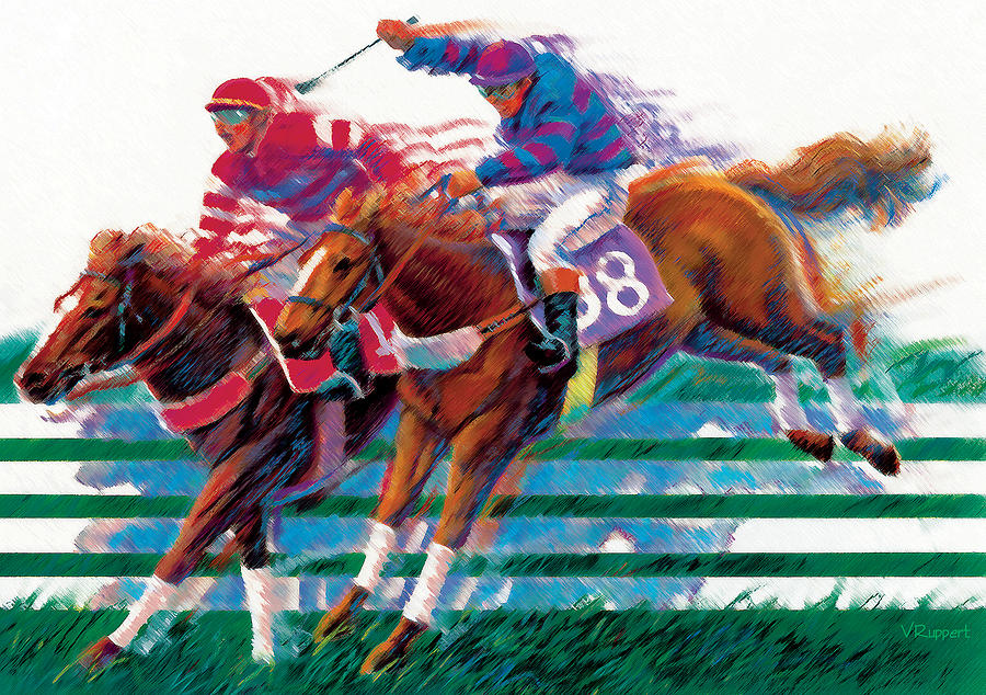Equestrians Pastel By Lash Larue