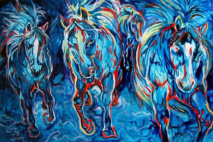 Horse Painting - EQUINE ABSTRACT BLUE FOUR By M BALDWIN by Marcia Baldwin