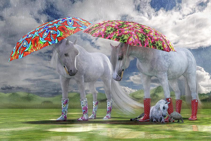 Horse Digital Art - Equine Spring Showers by Betsy Knapp