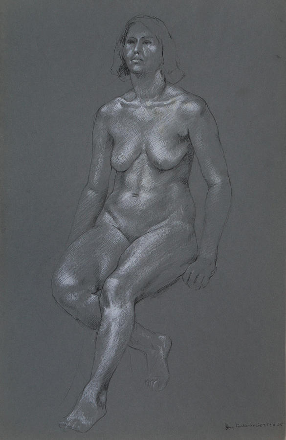 Erect Seated Female, Right Leg Bent Back  Drawing by Jon Falkenmire
