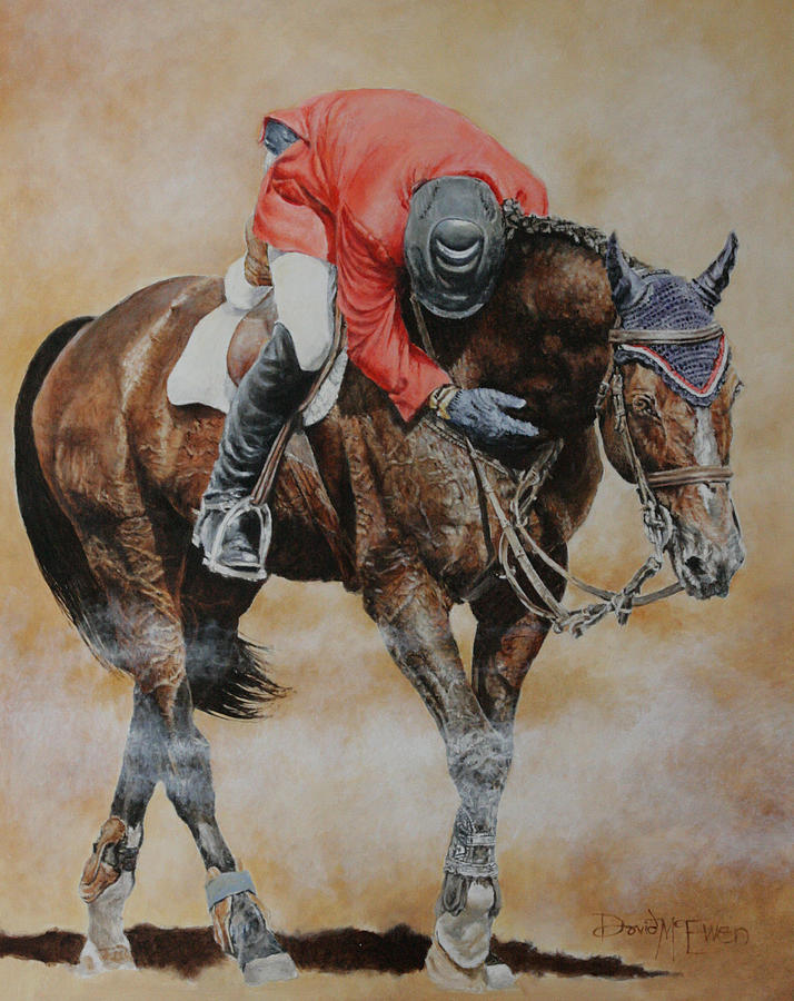 Eric Lamaze Painting - Eric Lamaze And Hickstead by David McEwen