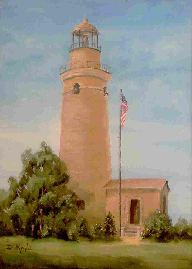 Lighthouse Print - Erie Land Lighthouse by Della Kaple