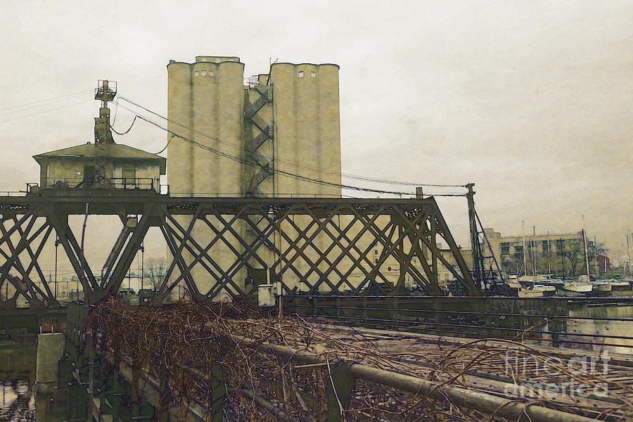 Train Digital Art - Erie Street Swing Bridge by David Blank