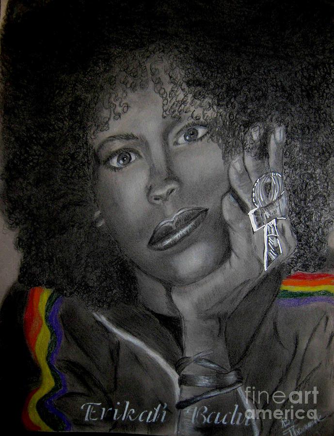 Portrait Drawing - Erikah Badu by Thomasina Marks