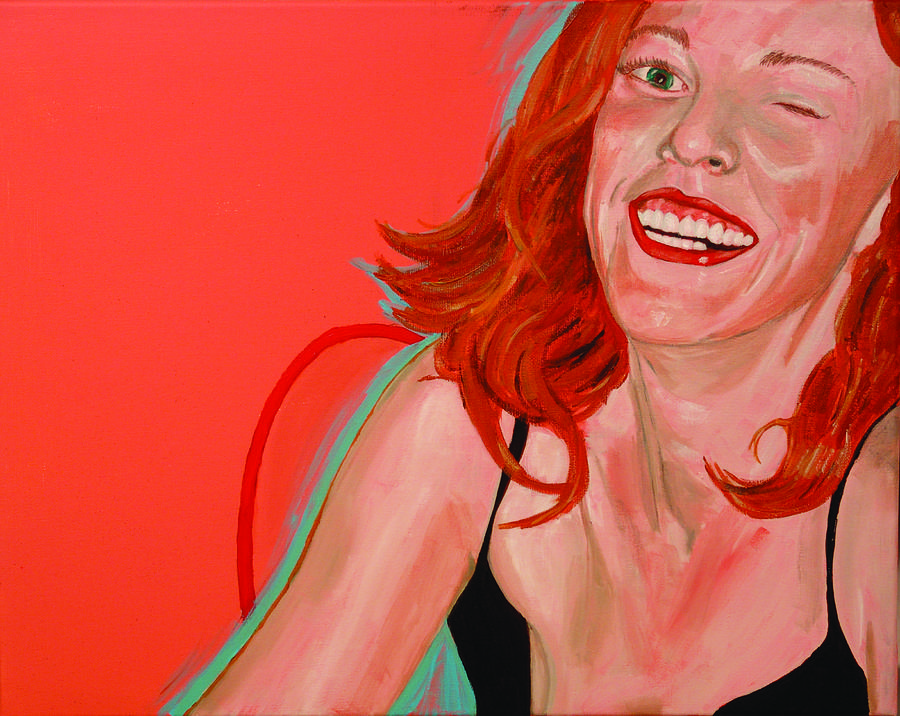 Red Head Painting - Erin Winking by Kevin Callahan