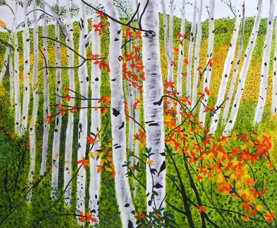 Birch Painting - Erins Birch Trees by Vivian Stearns-Kohler