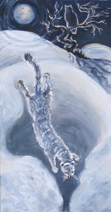 Animal Painting - Ermine Diving Into Drift From River Mural by Dawn Senior-Trask