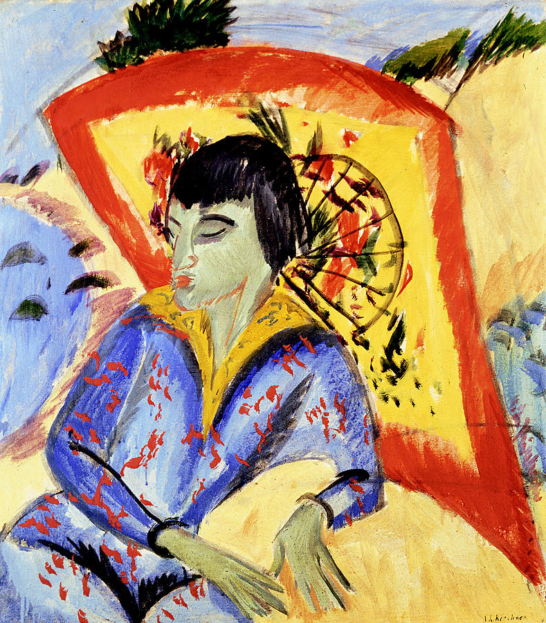 German Painters Painting - Erna With Japan Screen by Ernst Ludwig Kirchner
