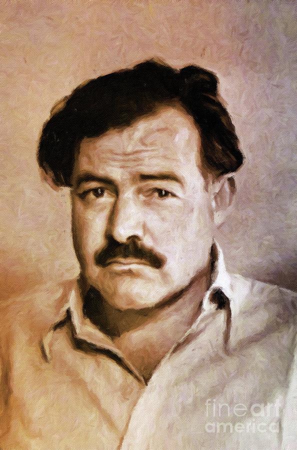 Ernest Hemingway, Literary Legend By Mary Bassett Painting