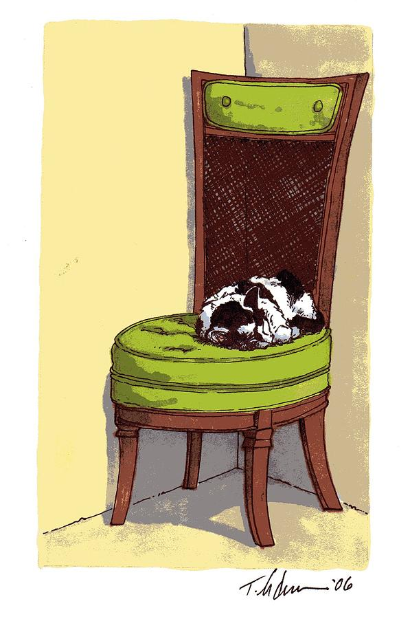 Cat Drawing - Ernie And Green Chair by Tobey Anderson