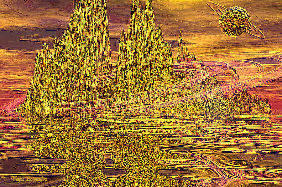Digital Painting - Eroding Gold by Wayne Bonney