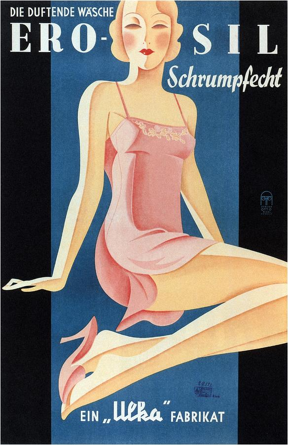 Women In Lingerie Mixed Media - Erosil - Schrumpfecht - Die Duftende Wasche - Vintage Advertising Poster by Studio Grafiikka