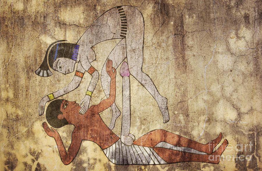 Egypt Mixed Media - Erotic Drawing Looks Like Fresco by Michal Boubin