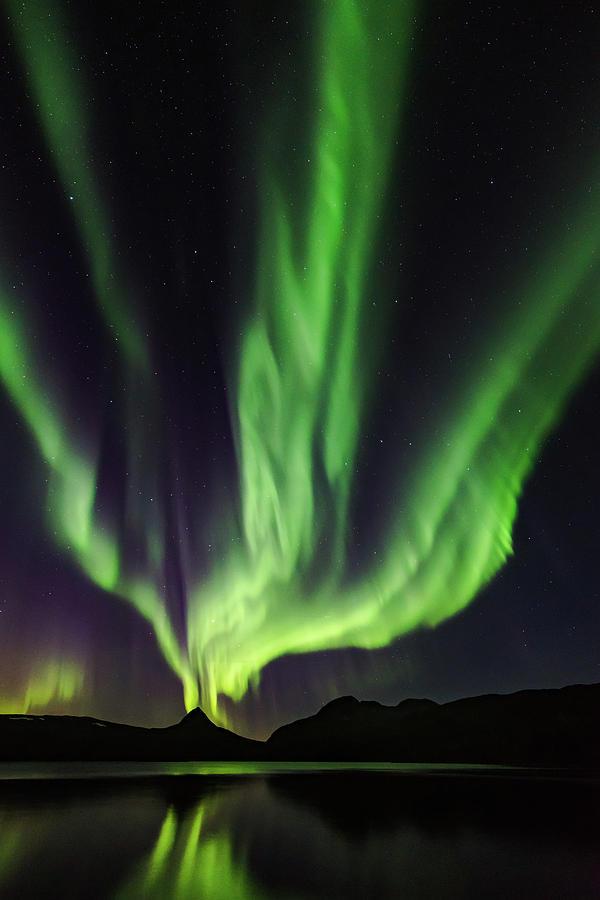 Aurora Photograph - Erupting Aurora Volcano by Kolbein Svensson