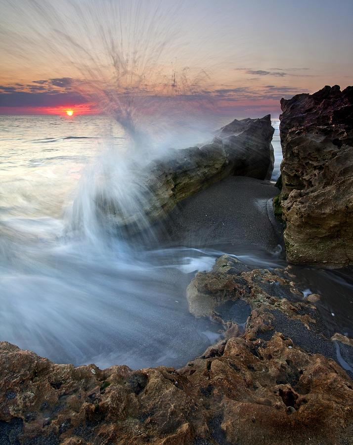 Blowing Rocks Photograph - Eruption At Dawn by Mike  Dawson