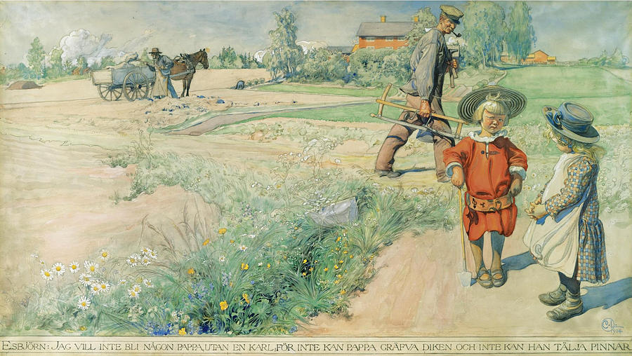 Carl Larsson Drawing -  Esbjorn And The Farmers Girl by Carl Larsson