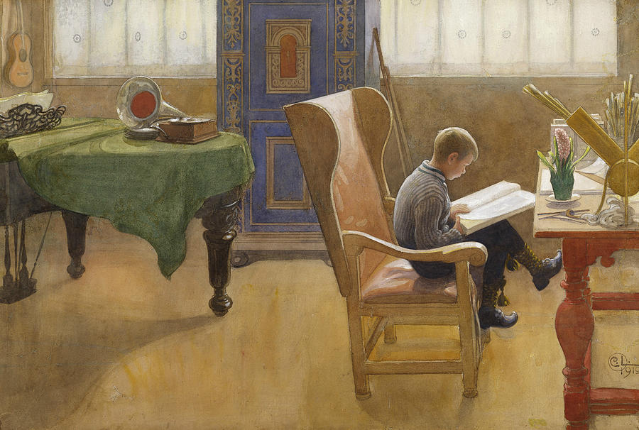 Swedish Painters Painting - Esbjorn at the Study Corner by Carl Larsson