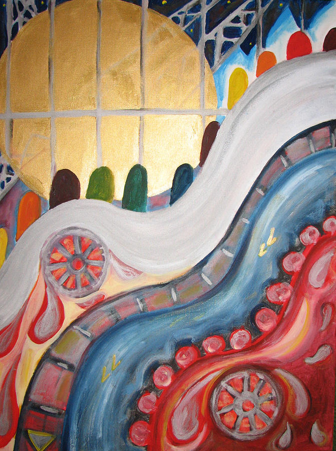 City Painting - escalators at WTC NY by Krisztina Asztalos