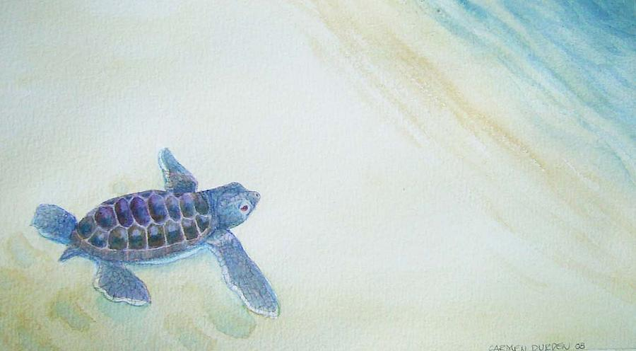 Baby Turtle Painting - Escape by Carmen Durden