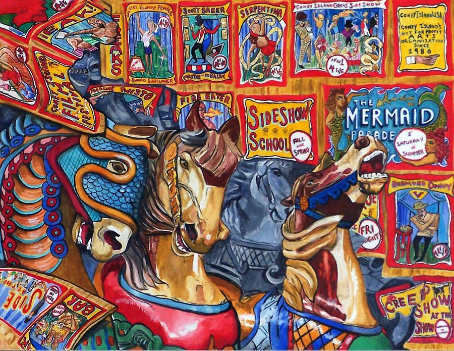 Horses Print - Escape from Coney Island by Bette Gray