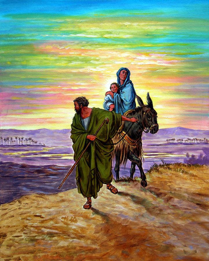 Jesus Painting - Escape Into Egypt by John Lautermilch