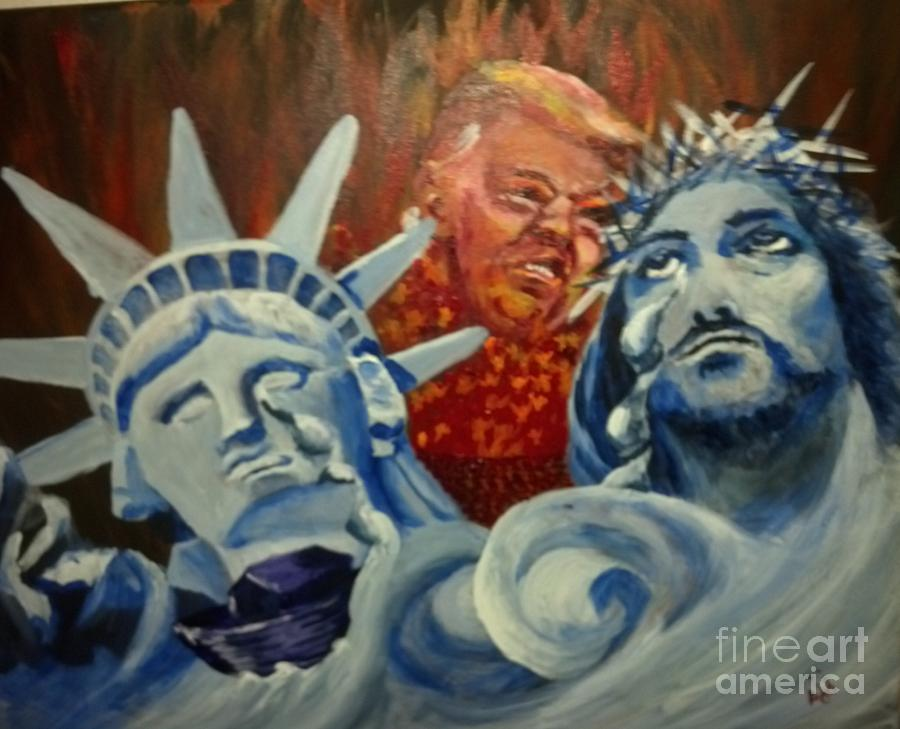 Politics Painting - Escape on Tears of Love and Liberty by Saundra Johnson