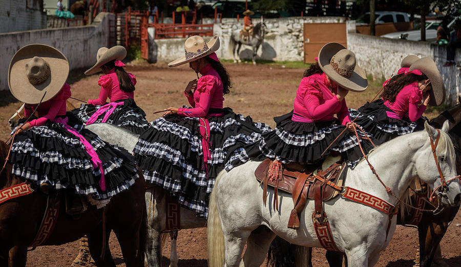 Escaramuza Cowgirls Crossing Themselves Photograph by Dane Strom