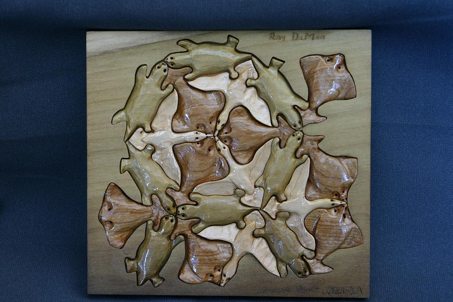 Puzzle Sculpture - Escher Inspired  Otters  Geese And Sole by Raymond DeMeo