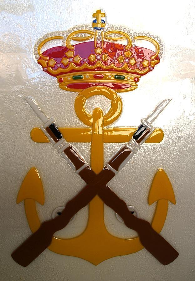 Escudo De La Infanteria De Marina Espanola Glass Art by Justyna Pastuszka