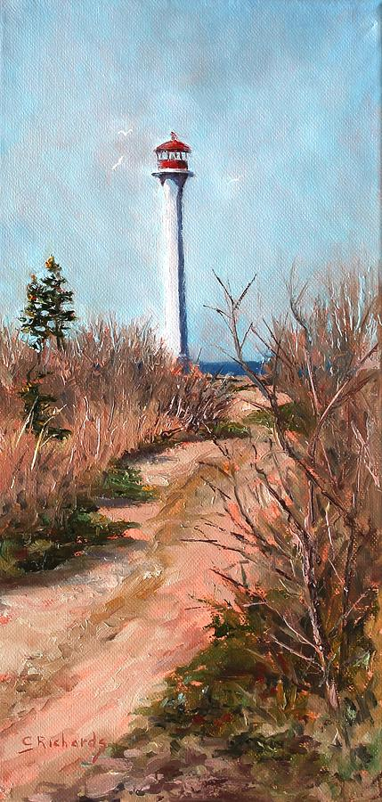 Lighthouse Painting - Escuminac Lighthouse by Cathleen Richards-Green