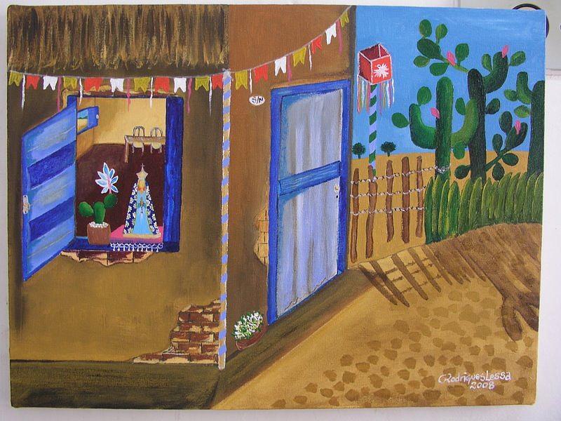 Esperando A Novena Painting by Rodrigues Lessa